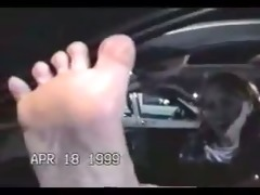 cute woman has gigantic feet. classic