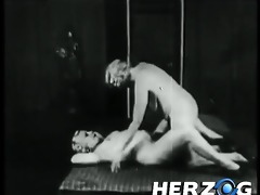 natural blond girls blowing a lad in retro porn