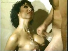 classic busty dark brown hair shower drilled