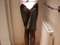 leather miniskirt girdle &; stockings
