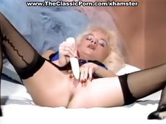 golden-haired in hot lingerie sex-toy plays
